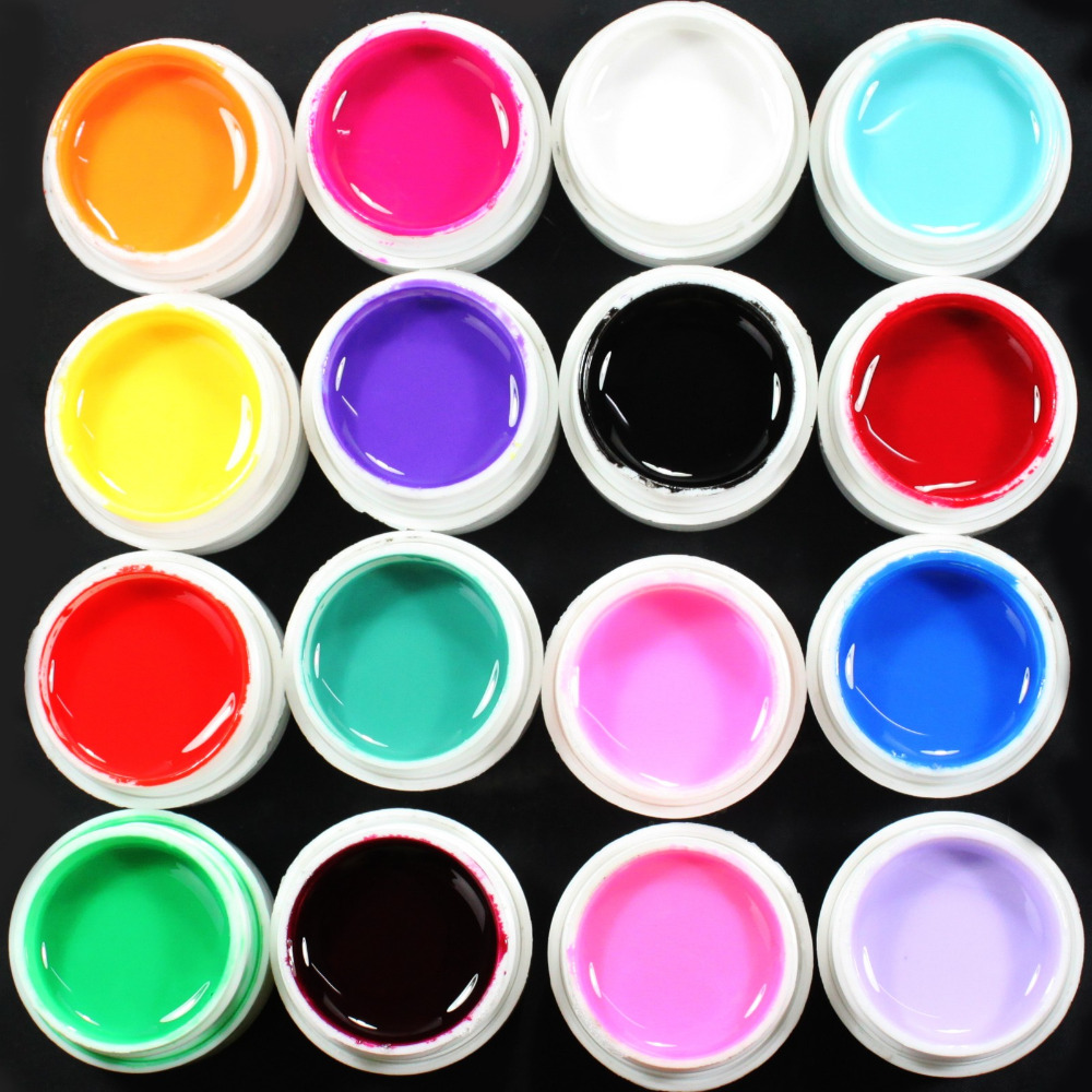 16 pcs solid color mix pure nails art uv gel set for acrylic false tips in nail gel from beauty. Black Bedroom Furniture Sets. Home Design Ideas