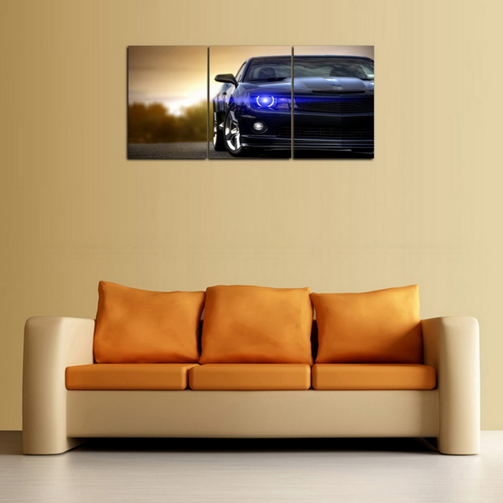 Original Oil Ink 3 Panels Canvas Print Blue Light Black Car Painting ...