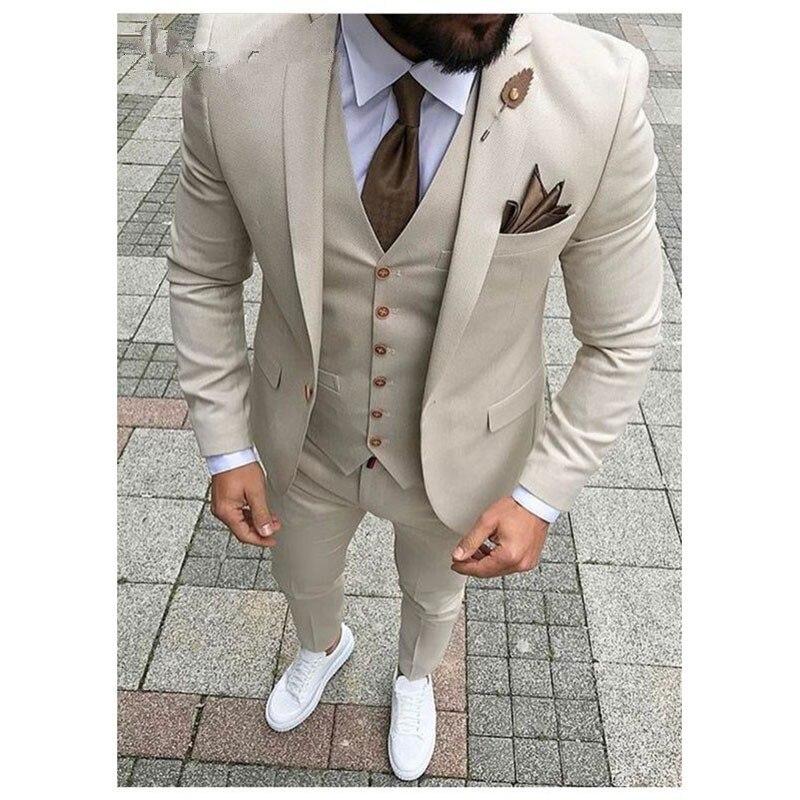 2018 последние конструкции пальто брюки бежевый мужской костюм Пром Slim Fit 3 предмета жениха Стиль Для мужчин s костюмы на заказ Блейзер Terno