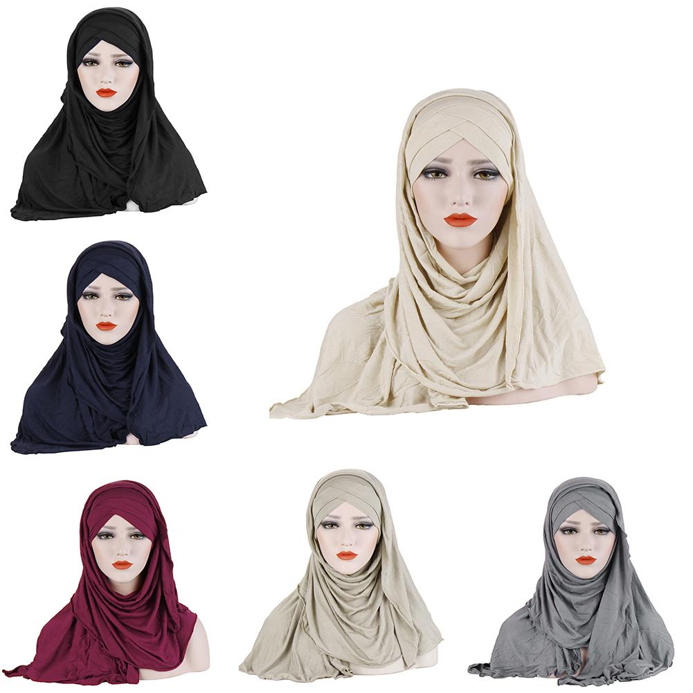 Muslim Headscarf Mercerized Cotton Hat Forehead Double Cross Hood Scarf Bib Sunscreen Warm Scarf Solid Color