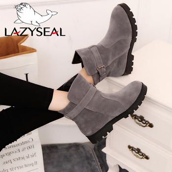 LazySeal Nubuck Women Ankle Boots Buckle Winter Boots Shoes Booties Plush Woman Ladies Shoes Martin Boots For Female Big Size 44