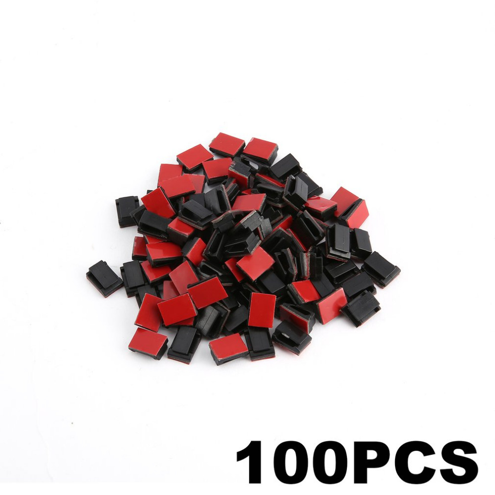 100pcs Plastic Wire Clips Tie//Untie Cable Holder Self-adhesive Clip Clamp Mount
