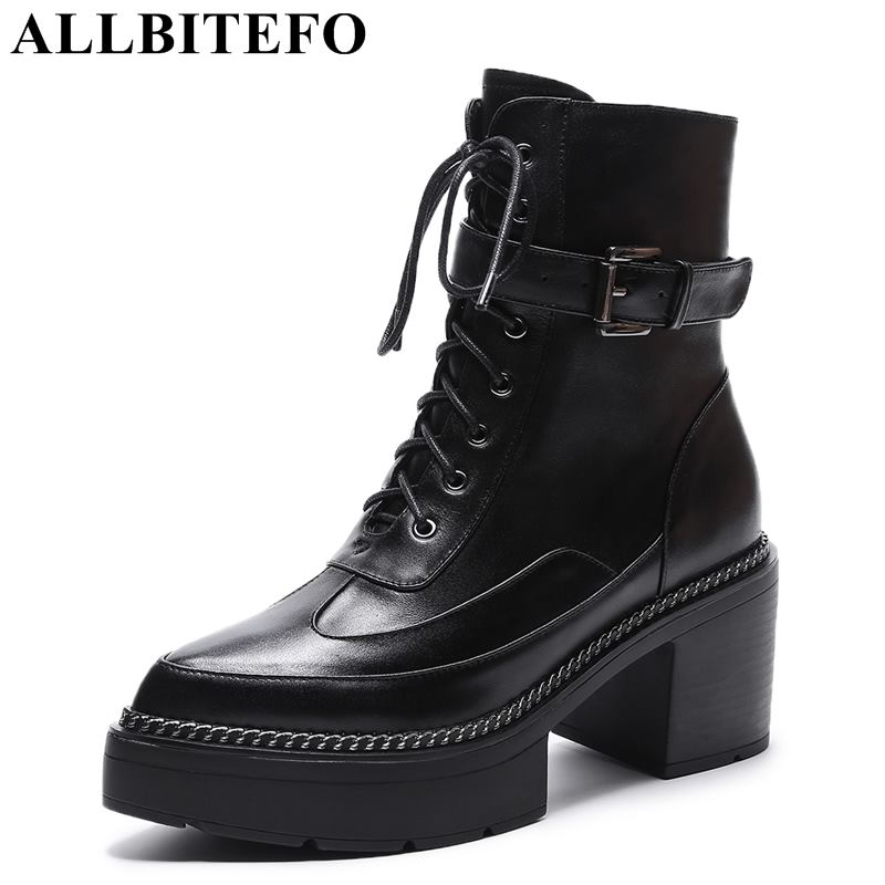 ALLBITEFO size:34-43 genuine leather thick heel women boots women high heel shoes winter snow boots martin botts girls shoes free shipping 2013 genuine leather high heel casual cotton padded shoes plus size 40 43 boots thick heel women s boots z476