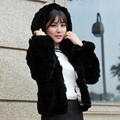 2015 new women's slim Rex Rabbit Fur coat short design Real Rabbit fur long sleeve outerwear