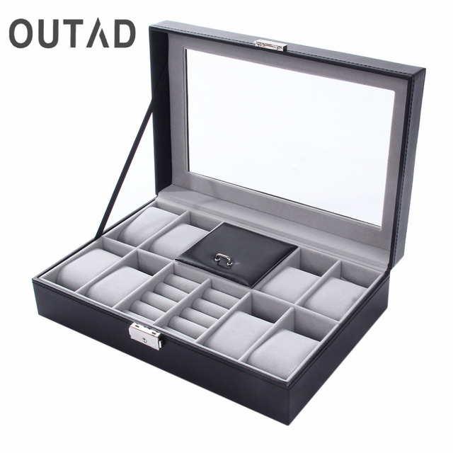 2 In One 8 Grids+3 Mixed Grids PU Leather Watch Boxes Storage Organizer Box Luxu