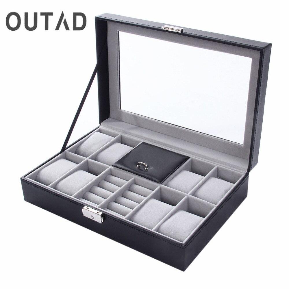 2 en un 8 cuadrículas 3 rejillas mixtas PU reloj de cuero cajas de almacenamiento organizador caja de joyería de lujo anillo caja de reloj negro Top nuevo