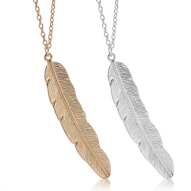 2018 New Fashion women vintage długi naszyjnik biżuteria silver gold prosty wisiorek z piórkiem naszyjniki