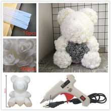 20cm/32cm Foam Rose Teddy Bear Mold PE Artificial Flower Heads DIY Accessories Bag Gifts