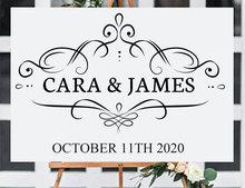 Personalised Art Design Wedding Decal Custom Bride And Groom Name Date Sticker Vinyl Decoration Sign Mural Gift WE12