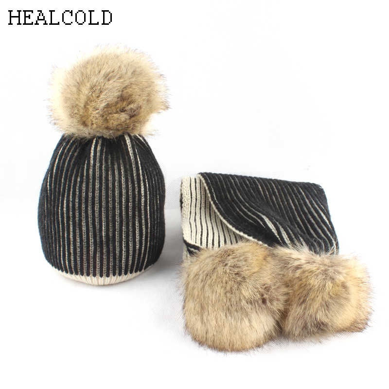 2018 new pompoms winter hat for kids girls striped knitted beanie scarf hat children cap boys