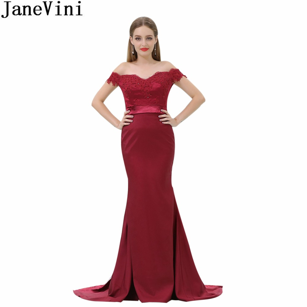 Janevini In Stock Burgundy Mermaid Bridesmaid Dress Long Off Shoulder Beaded Lace Women Elegant Dresses For Weddings Party Gowns
