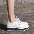 Sapatos de Plataforma plana Mulheres Apartamentos Novos Outono 2015 Inglaterra Retro Sapatos de Plataforma Grossa Sola Sapatos Baixos Plus Size Calçados Femininos