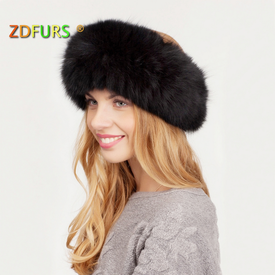 ZDFURS * New Arrival Fox Fur Headband handgjord stickad elastisk Fox Fur Muffler Scarf Sliver Fox Fur Neck Warmer ZDS-162001
