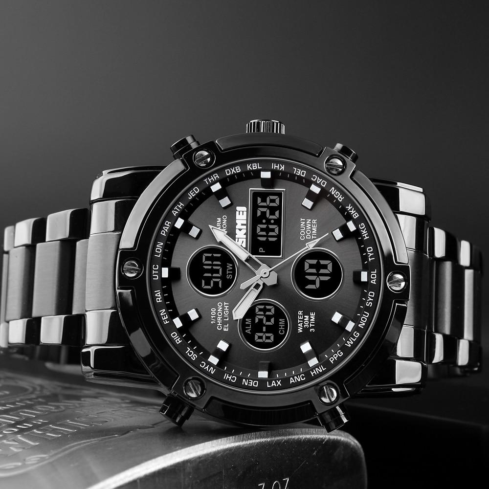 f8427440358 SKMEI Homens Relógios Do Esporte Levou Relógio de Aço Inoxidável  Analógico-Digita Moda Casual Mens