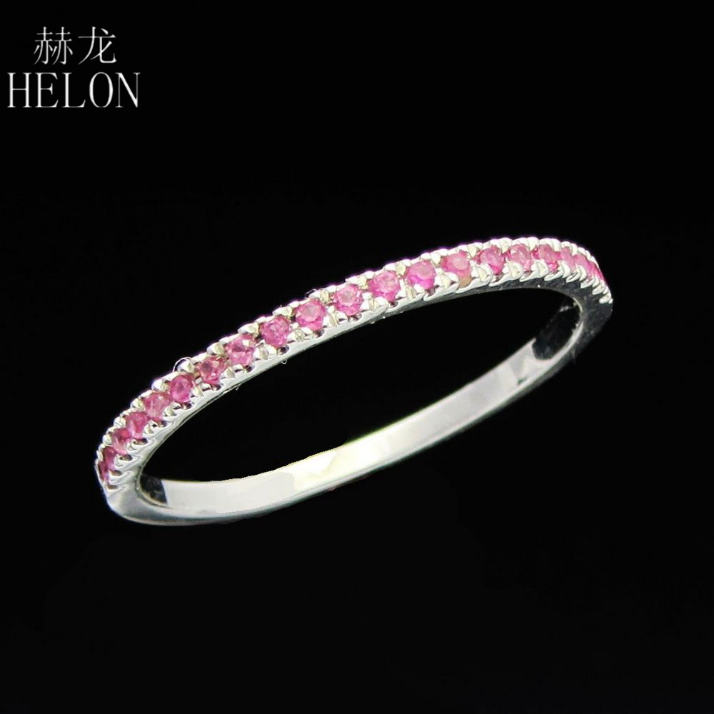 HELON Stackable Pave Brilliant Natural Pink Sapphire Ring Solid 10K White Gold Pink Sapphire Gemstone Anniversary Wedding Ring