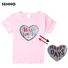 Kids Girls Magical Color Changing Heart Sequined T-Shirts Reversible O-Neck Sequins Tees Discoloration Tops Sequin Clothing
