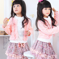 2014 New Winter Coat Korean Brand Children S Clothing Girls Long Sleeved Lace Korean Three Piece