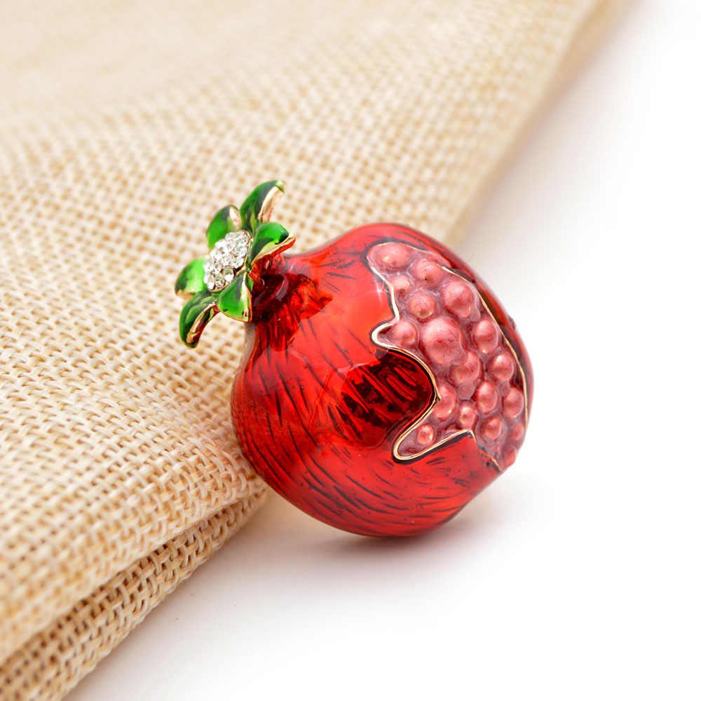 CINKILE Мода граната эмаль булавки кристалл фрукты броши ювелирные изделия для женщин Детское пальто платье сумка шляпные булавки вечерние аксессуары