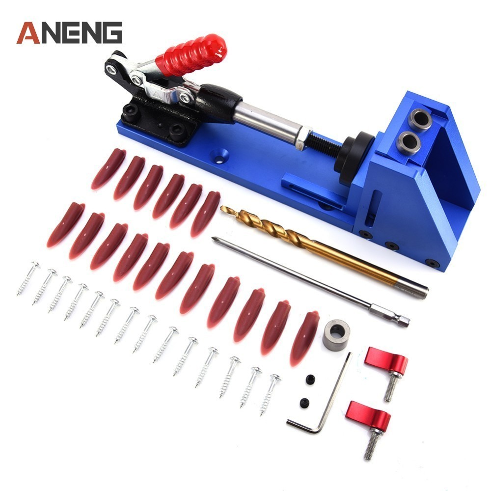 XK-2 Woodworking Guide Carpenter Kit System Inclined Hole Drill Tools Clamp Base Drill Bit Kit System Pocket Hole Jig Kit pocket hole jig woodwork guide repair carpenter kit woodworking tool