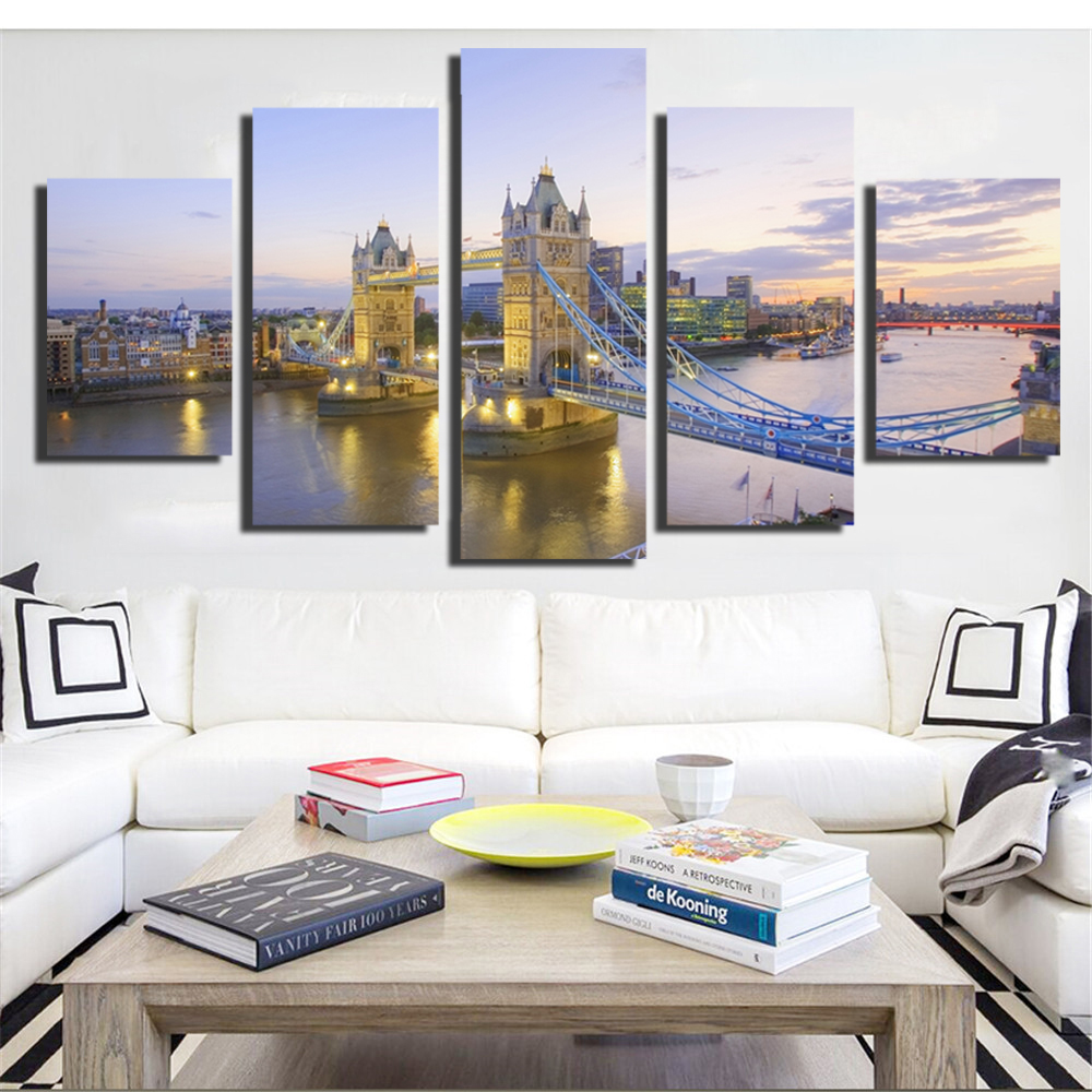No Frame Mordern Building Canvas Painting Wall Art Nordic ...