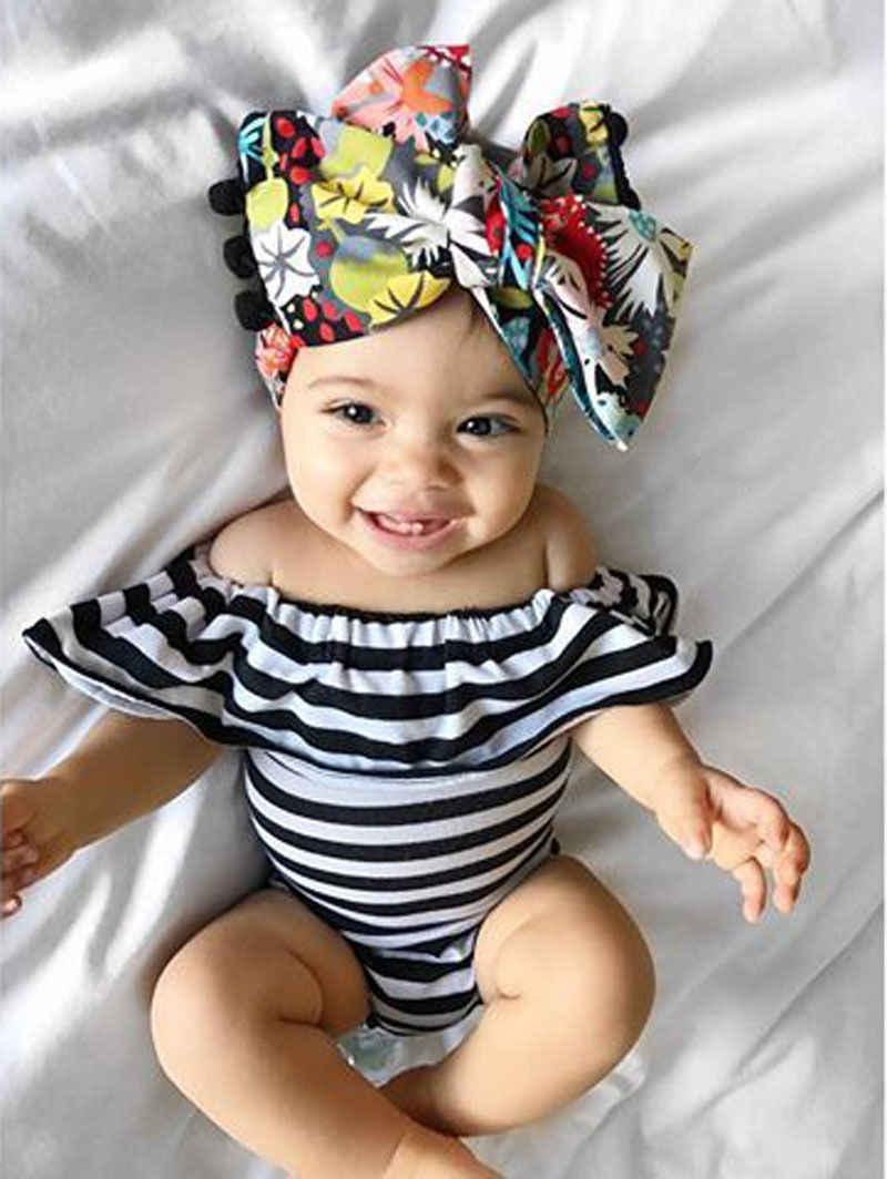 2019 Милый Малыш новорожденный младенец девочка с открытыми плечами лето черный белый полосатый комбинезон одежда наряды
