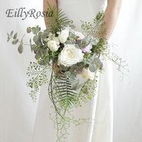 New Western Style Wedding Bouquet de la mariee Bride Artificial Pink Roses Handmade Green leaf wedding flowers bridal bouquets