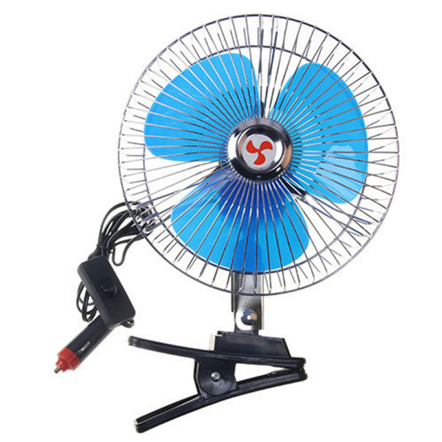 12V/24V Mini Electric Auto Car Fan Low Noise Summer Cooling Fan Truck Vehicle Strong Wind Air Cooler Conditioner