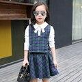 2016 осенью детская одежда девушки устанавливает причинно длинным рукавом хлопок детские девушки наборы для девочек детей жилет юбка футболка 3 шт. костюмы