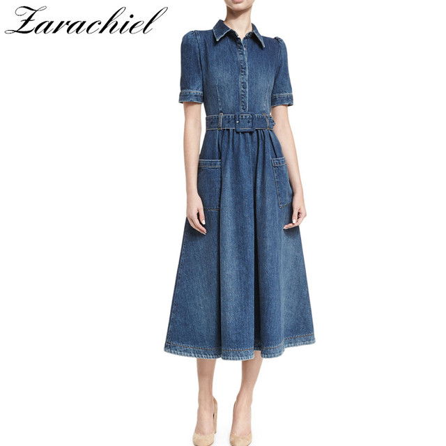 7da6a97b949ac New 2018 Designer Denim Dress Clothing Women Jeans Dress Runway Short  Sleeve Slim Fit Pocket Cowboy Casual Long Dress With Belt