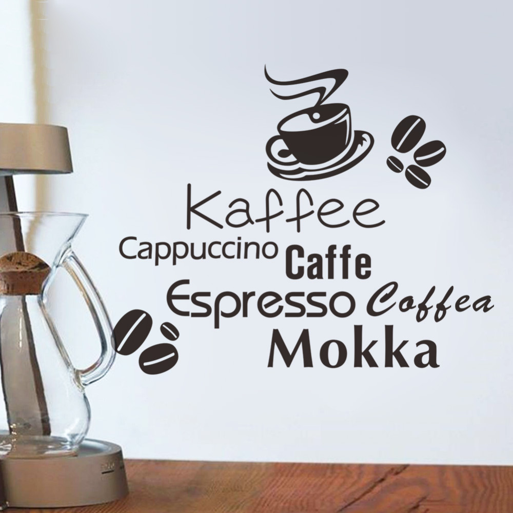 Coffee Restaurant Storefront Kitchen Wall Sticker 3d Diy Cappuccino Coffee Sticker Mokka Wallpaper Home Decoration