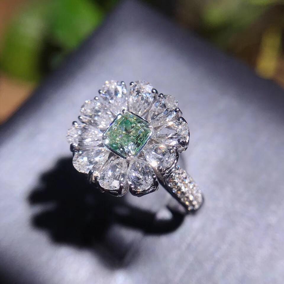 AEAW 固体 14 18K 585Au ゴールドグリーン 2.5ctw モアッサナイトリング梨モアッサナイトの婚約指輪とのネックレス (デュアル使用)  グループ上の ジュエリー & アクセサリー からの 指輪 の中 2