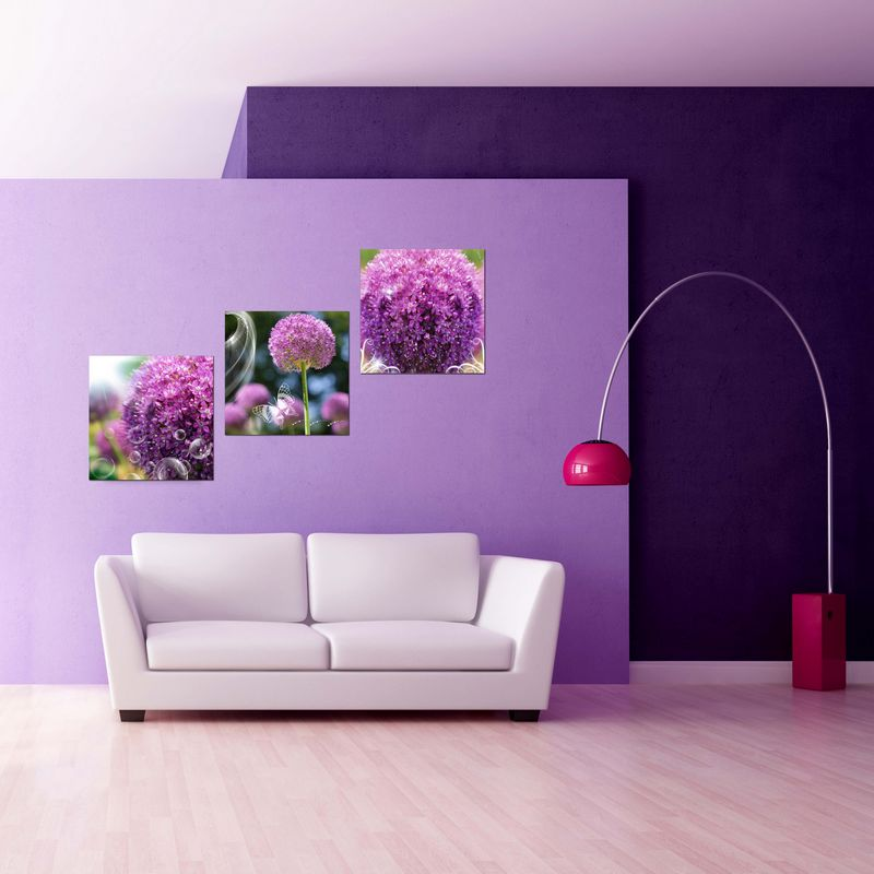 3 piece purple flower canvas painting hd print flower oil painting canvas wall art picture for. Black Bedroom Furniture Sets. Home Design Ideas