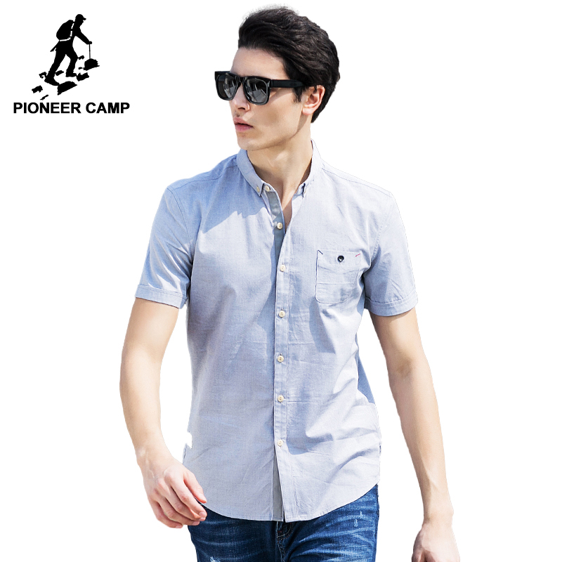 Pioneer Camp 2018 New Arrival 100% Cotton Oxford Men Shirt Slim Fit Camisa Masculina Street Soft Chemise Homme 3Xl Shirt 666210