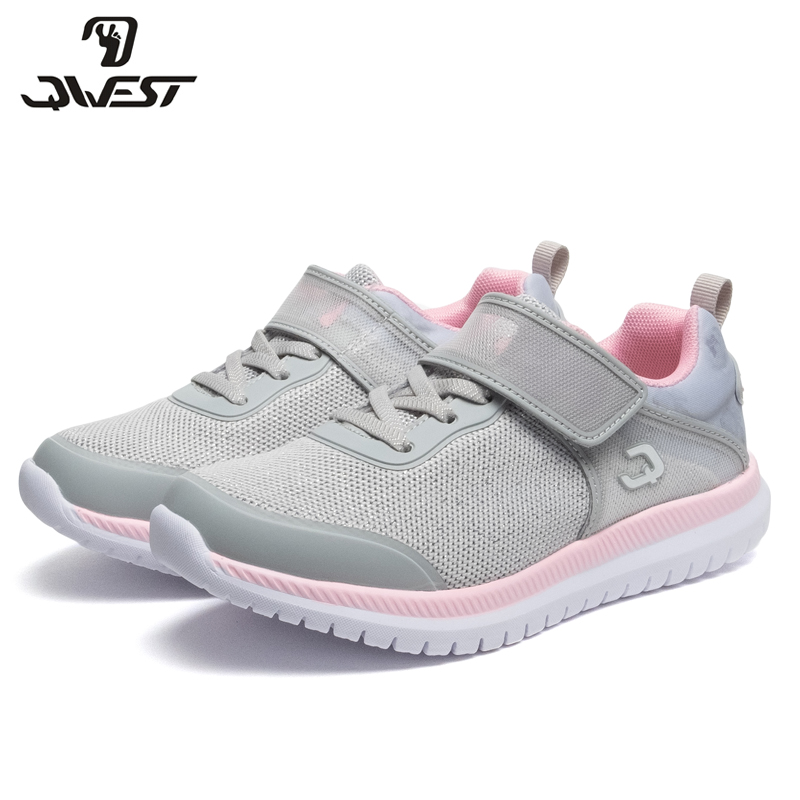 QWEST Brand Spring& Summer Breathable Children Walking Shoes Hook& Loop Size 31-36 Kids Sneaker for Girl 91K-NQ-1264 qwest print children sport spring