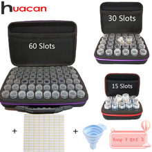 Huacan 15/30/60 Slots Diamond Painting Accessories Embroidery Bead Storage Bottle Multi-function Handbag Tools Kits