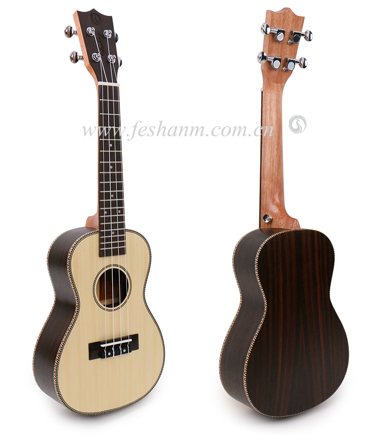 High End 23 inch Concert Acoustic ukulele With Spruce Top/Rosewood Body,ukelele guitars,18 Frets Rosewood mini 4 strings guitar concert acoustic electric ukulele 23 inch high quality guitar 4 strings ukelele guitarra handcraft wood zebra plug in uke tuner