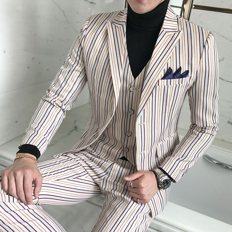 High quality British suits male suit groom wedding dress Slim business suits business wear striped suit waffle three sets