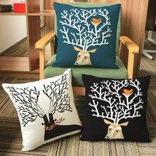2017 Vintage alce tejido de algodón con pájaros funda de cojín Natural cómoda y duradera almohada para la decoración del hogar 16,9*16,9 pulgadas