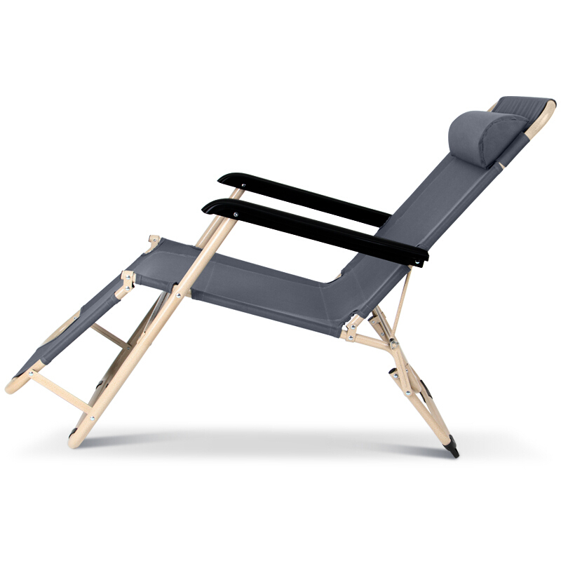 Quick Folding Outdoor Beach Lounger Foldable Chair With Adjustable Backrest  And Footrest For Sleeping Bed Dual Use With Armrest