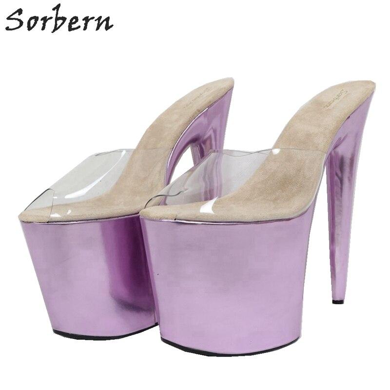 Sorbern 20Cm Extreme High Heel Slippers Women Slip On Metallic Slides Transparent Pvc Open Toe Summer Shoes Custom Colors