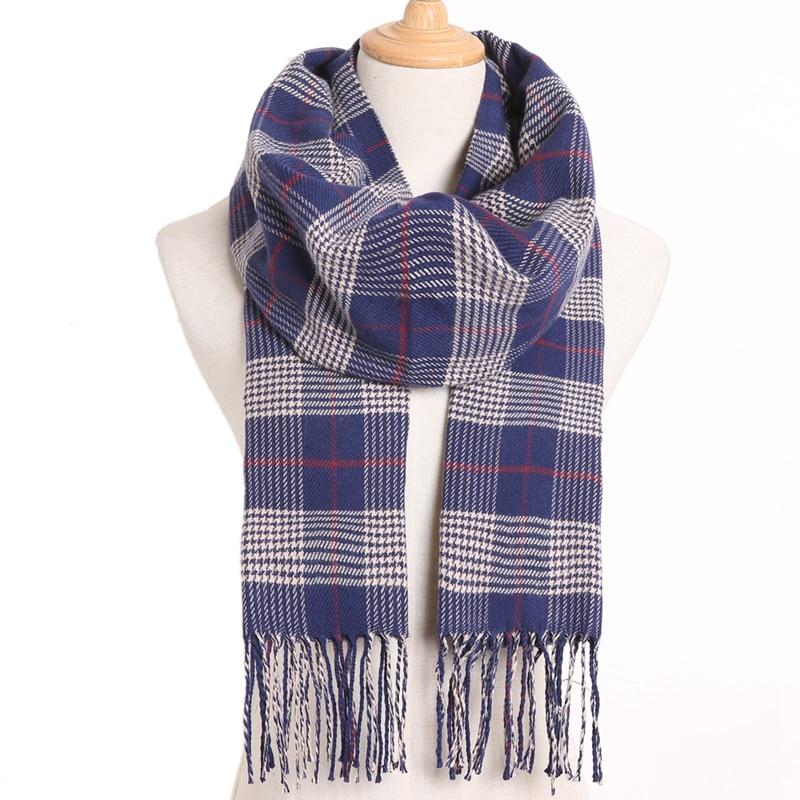 [VIANOSI] клетчатый зимний шарф женский тёплый платок одноцветные шарфы модные шарфы на каждый день кашемировые шарфы - Цвет: 31
