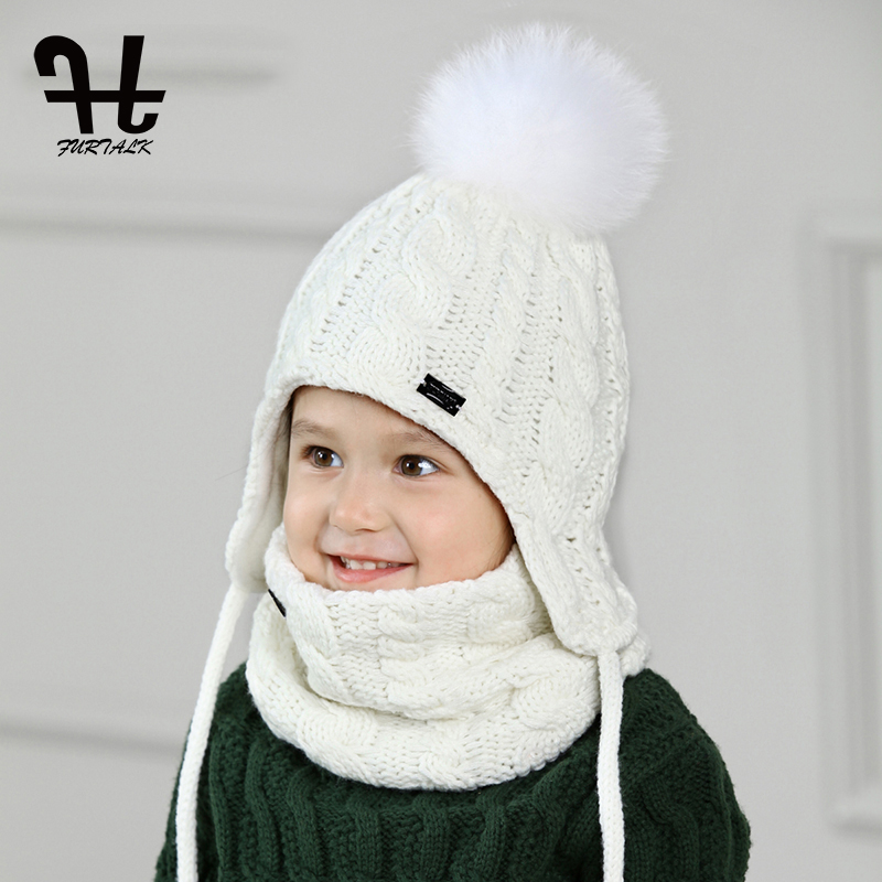 FURTALK Children Hat And Scarf Set for Girls and Boys Knitted Winter Hats  Real Fox Fur 9b9761abd110