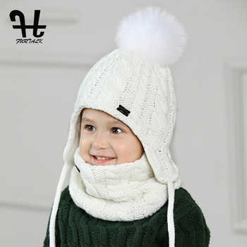 FURTALK Children Hat and Scarf Set for Girls and Boys Knitted Winter Hats Real Fox Fur Pompom Hats Thick Warm Ears Beanies cap - DISCOUNT ITEM  40% OFF All Category