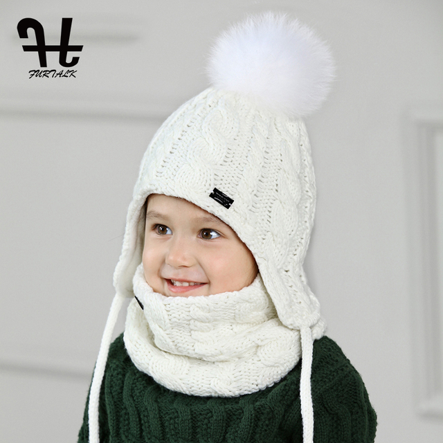 Inteligentny FURTALK dzieci kapelusz i zestaw szalików dla dziewczynek i AX24