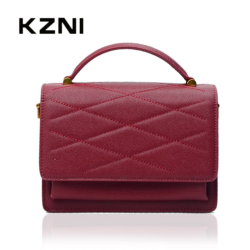 цена на KZNI Genuine Leather Bags for Women Bag 2017 Designer Handbags Girls Shoulder Bag with Chain Bolsos De Mujer Bolsas Feminina9012