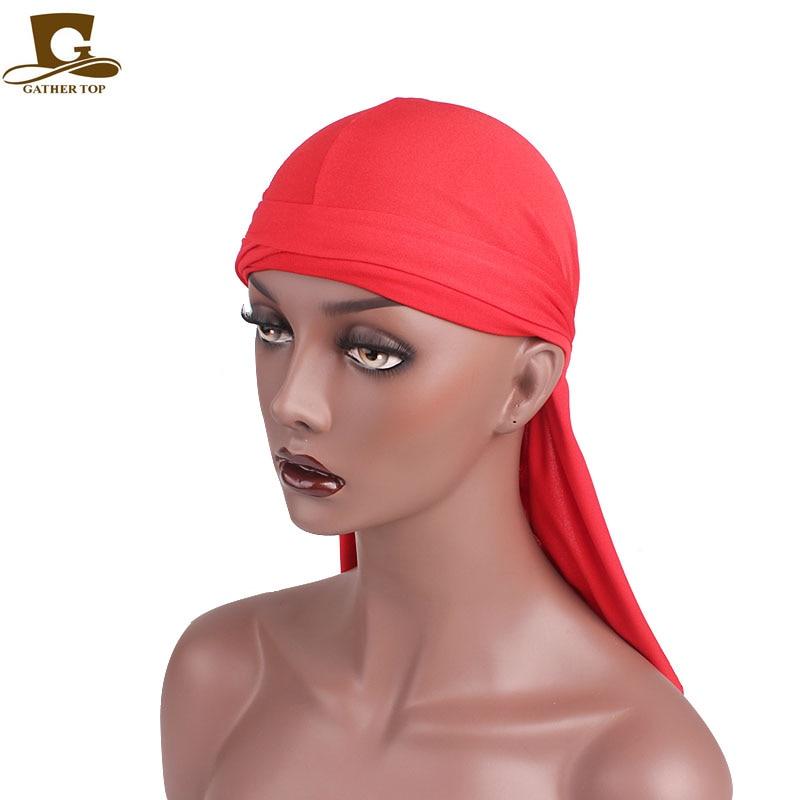 Spandex Solid Headband Unisex Durag Cap Hip-Hop Bandana Pirate Hat