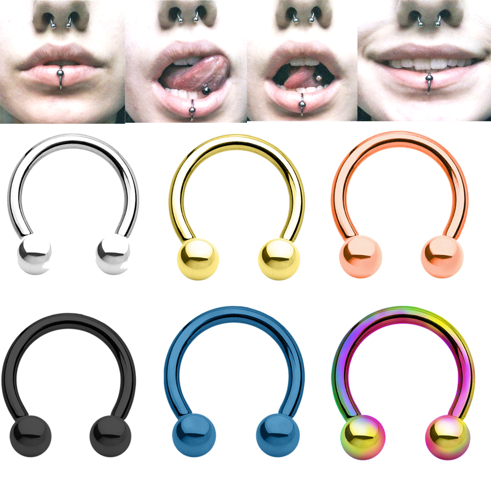 6 Pieces Anodized Circular Barbell Horseshoe Piercing CBB Septum Lip Labret Eyebrow Nose Ring Nipple Piercing Body Jewelry 16g ...