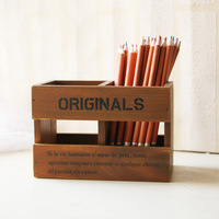 2pcs ZAKKA Vintage Office School Wood Double Lattice Pen Pencil Wooden Stationery Remote Control Storage Box
