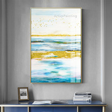 Abstract Blue Sea Gold bird Oil Painting on Canvas Acrylic Wall Art Pictures for Living Room Home Caudros Decoracion