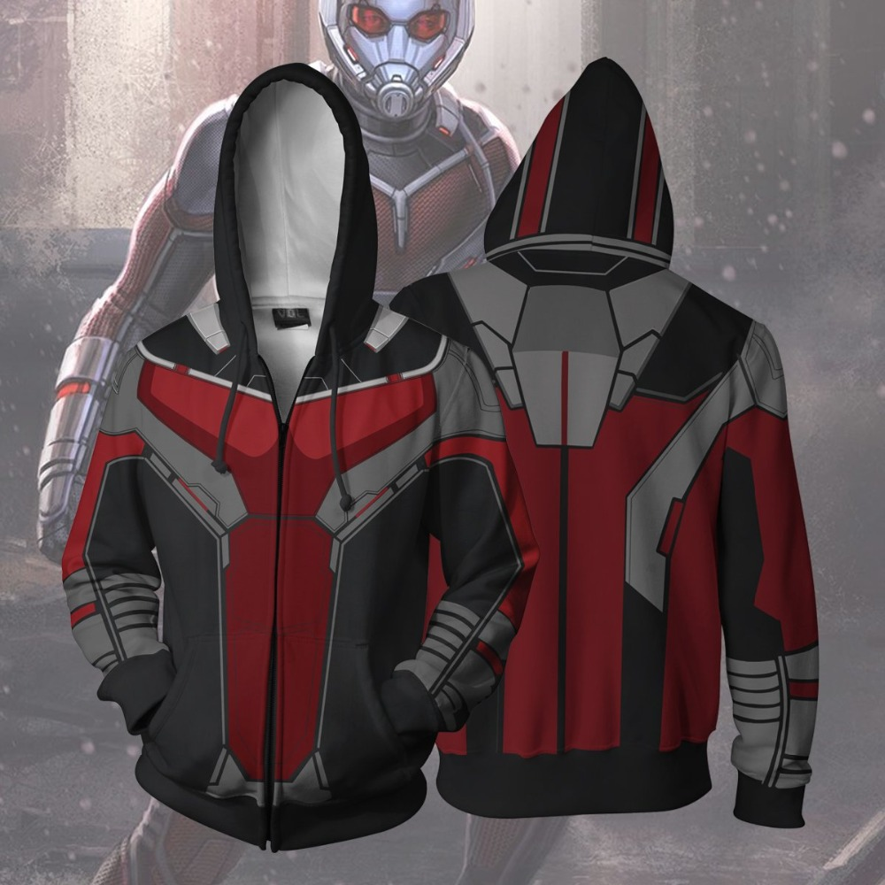 Ant-Man Scott Lang Costumes 3D Printed Ant-Man Sweatshirt zip Cardigan Sweater Hank Pym Cosplay Cartoon hooded sweater Jackets